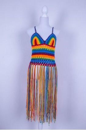 """Zomertop met tassels """"rainbow"""""""