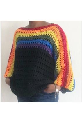 Oversized Batwing sweater (regenboog)